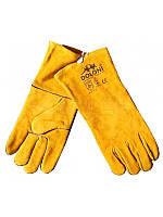 Перчатки рабочие-4507 краги сварочные с подкладкой желтые 10 размер Doloni