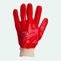 Перчатки рабочие-4518 красные общее покрытие гладкие (вязанные манжеты)  Doloni