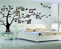 """Виниловая наклейка на стену """"Фото дерево черное"""" 1м80см * 2м50см дерево с фоторамками (2 листа 60см*90см)"""