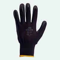 Перчатки рабочие-4521 черные ладонь-нитриловая.с доп.точкой , 8 размер  Doloni