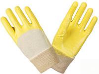 Перчатки рабочие-4523 нитриловые ,желтые,покрытие с открытой тыльной стороной, 10 размер Doloni