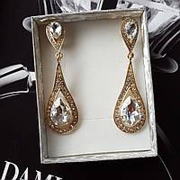 """Нарядные длинные серьги """"Annet"""" с белыми кристаллами (золото)"""