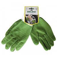 Перчатки рабочие-4526 зеленые нейлон,манжет вяз,латексные,полный облив,ребристые, 10 размер Doloni