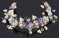 Веночек - диадема цветная с жемчугом и стразами (свадебная диадема с цветами)