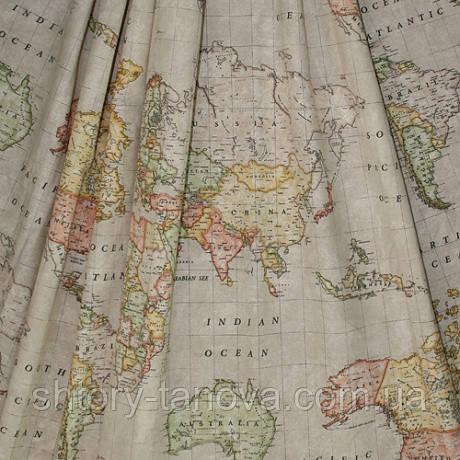Ткань для штор карта беж