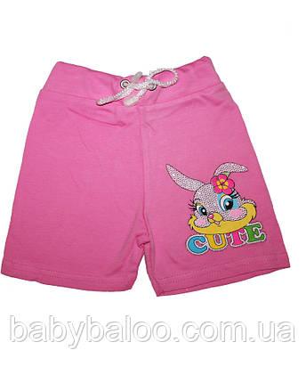 Хлопковые шорты для девочки однотонные (от 1 до 3 лет), фото 2