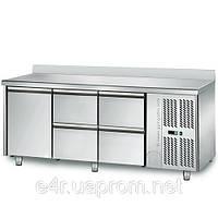 Холодильный стол 1,8 m x 0, 7м - 1 дверный и с4 ящиками 1/2 (KTS) с задним бортом