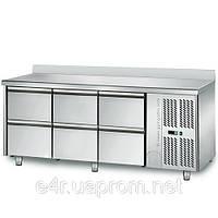 Холодильный стол 1,8 m x 0, 7м - с 6 ящиками 1/2 (KTS) с задним бортом