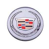 Ковпачки заглушки для литих дисків Cadillac сірий з кольоровою емблемою + хром