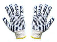Перчатки рабочие-577 белые с ПВХ точкой синей, 10 размер Doloni