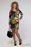 Яркое весеннее трикотажное платье с длинным рукавом большого размера 48-54, фото 1