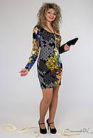 Яркое весеннее трикотажное платье с длинным рукавом большого размера 48-54