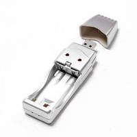 USB @LUX™ зарядное устройство для  2*AA, silver, OEM