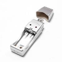 USB @LUX™ зарядний пристрій для 2*AA, silver, OEM
