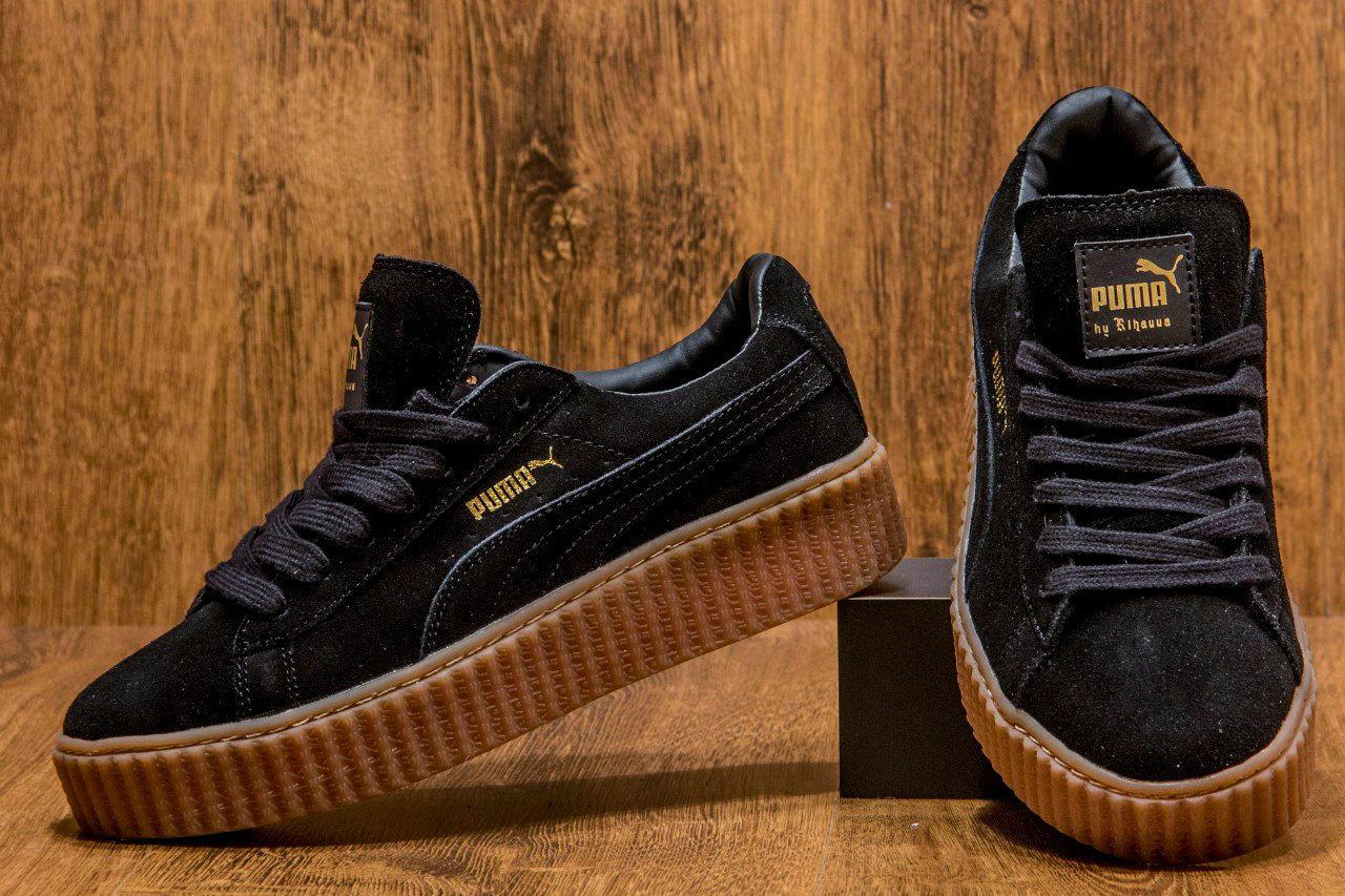 Кроссовки (кеды) женские PUMA Rihanna Suede Creeper Черные Замша 38 ... 42d113e58ea