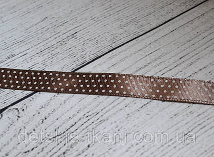 Лента сатиновая 12 мм тёмно кофейного цвета с точками