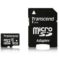 Карта MicroSDHC Transcend 16GB Class 10 + Переходник
