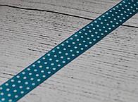 Лента сатиновая 12 мм бирюзового цвета с точками