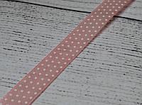 Лента сатиновая с точками шириной 12 мм  цвета розовой пудры