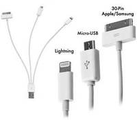 4в1 Кабель-адаптер-ЗУ USB to Apple 30p/8p Lightning, micro USB для iPhone 3/4/4s/5, iPad Mini, iPod, Samsung
