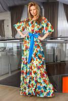 Женское платье в пол в цветочек с оголенными плечами и бантом на поясе рукав три четверти полированный коттон