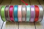 Лента сатиновая шириной 12 мм,  цвет - мятный, с точками, фото 2