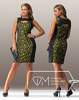 Нарядное платье с гипюром в ассортименте  Батал м-20117