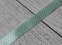 Лента сатиновая шириной 12 мм,  цвет - мятный, с точками