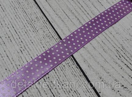 Лента сатиновая шириной 12 мм,  цвет - сиреневый, с точками