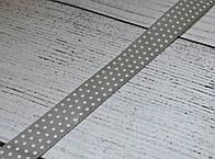 Лента сатиновая шириной 12 мм,  цвет - серый, с точками