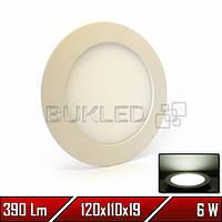 Светильник LED врезной круглый, 220 В, 6 Вт, Белый