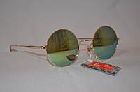 Солнцезащитные очки круглые Хамелеон желто-зеленый золотая оправа