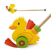 Деревянная игрушка утенок на палочке IE173