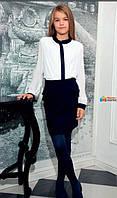 Шифоновая блузка со стразами Sly 142/S/17 цвет белый с синим р.140