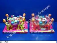 Мебель с куклами, 2 вида, под слюдой (ОПТОМ) A8-55