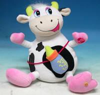 Мягкая игрушка DS-2695A корова ребенок, музыкальная, интерактивная игрушка