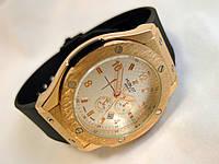 Мужские часы HUBLOT - GENEVE каучуковый черный ремешок, цвет золото, белый циферблат