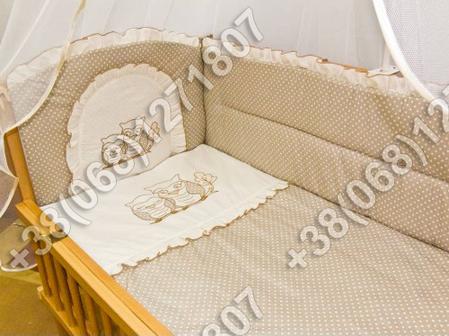 Детское постельное белье в кроватку с вышивкой Совы, комплект 7 ед., фото 2