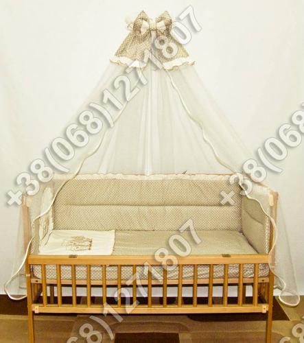 Детское постельное белье в кроватку с вышивкой Совы, комплект 7 ед.