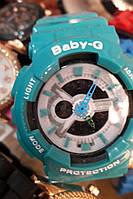 Детские часы Casio Baby G BA-111 5338 (113882) бирюзовый с белым на темном циферблате водонепроницаемые