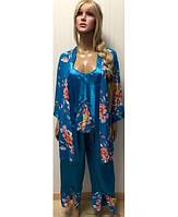 Комплект тройка (штаны, майка и халат) размер 44-48
