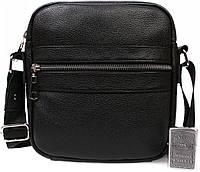 Стильная объемная мужская сумка из натуральной кожи 22,5х20,5х5см.