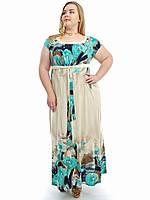 """Летнее платье в пол больших размеров, """"Бирюзовый цветок"""" 736"""