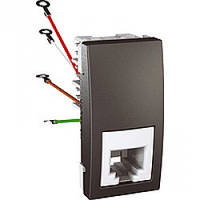 Розетка Schneider-Electric Unica телефонная 1-модуль 4 конт. RJ11 графит