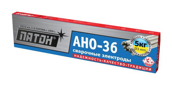 Сварочные электроды ПАТОН АНО-36 3мм 5кг