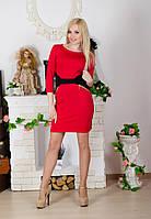 Деловое женское платье красное