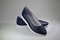 Балетки кожаные синий флотар /синяя замша, фото 1