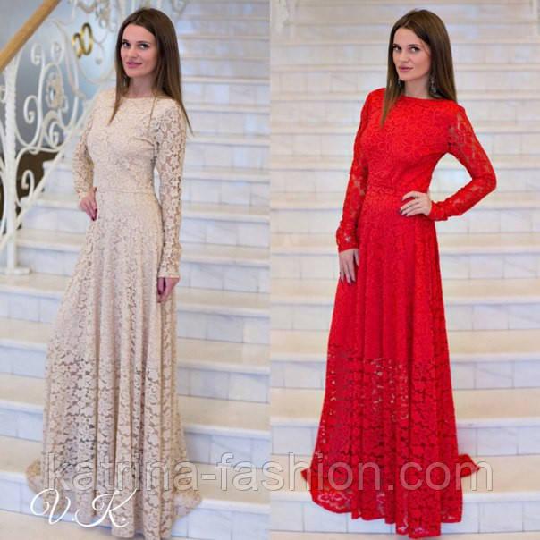 Женское шикарное гипюровое платье в пол (2 цвета) - KATRINA FASHION -  оптовый интернет 1339443ea80
