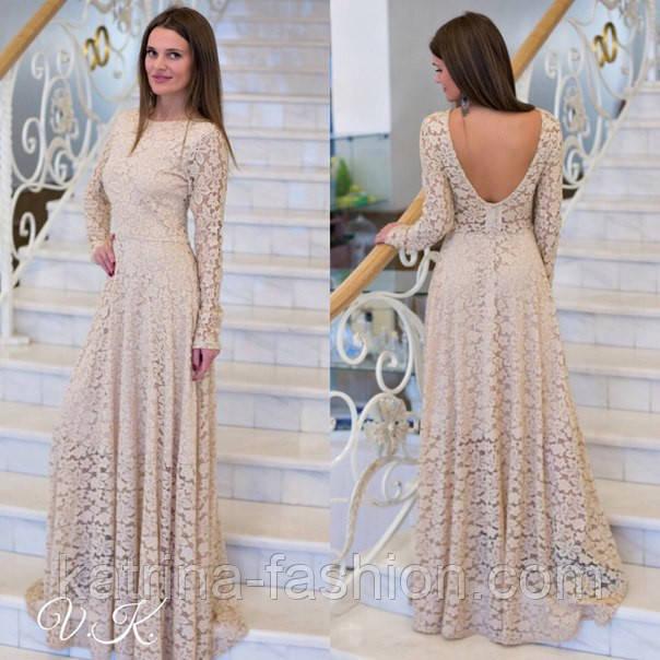 Женское шикарное гипюровое платье в пол (2 цвета)