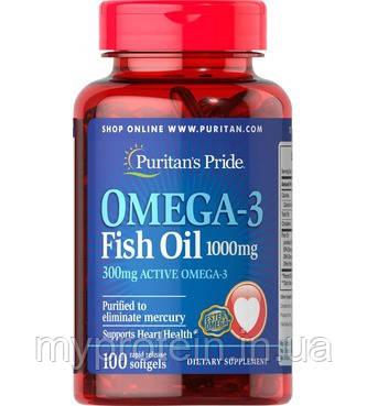 Puritan's Pride Омега 3 Рыбий жир Omega-3 Fish Oil 1000 mg  100 softgels